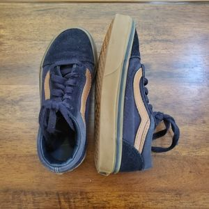 Kids Vans Old Skool Suede Sneaker Navy Tan